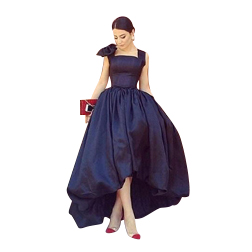 2019 Vintage Ball Gown Hi Lo Prom Dresses Satin Square Neck Bow Back Zipper Formal Evening Party Homecoming Dresses