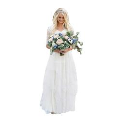 Western Country Wedding Dresses Lace Chiffon Modest V Neck Half Sleeves Long Bohemian Bridal Gowns Plus Size Robe de mariée en dentelle