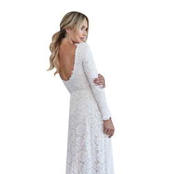 Vintage A-line Lace Modest Wedding Dress With Long Sleeves Simple Boho Wedding Dress With Full Sleeves Low Back Bohemian Beach Wedding Gown