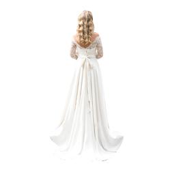 2019 Vintage Sheer Lace Half Sleeve A Line Wedding Dresses Appliques Boho Sash Floor Length Satin Bridal Gown BC0699