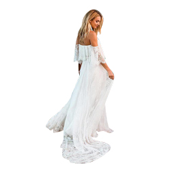 Beach Boho Wedding Dresses 2019 Bohemian Backless A-line Tulle Lace Applique Off the Shoulder With Short Sleeves Bridal Gown Court Train