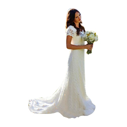 Jewel Neckline A-line Overall Lace Wedding Dress Short Sleeves Long Country Bridal Dress with Removable Sash Custom Made Wedding Gown
