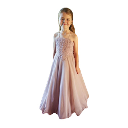 Halter Dusty Pink Flower Girl Dresses For Weddings Lace Country Sleevelss Oragnza Floor Length Girls Pageant Gown First Communion Dresses