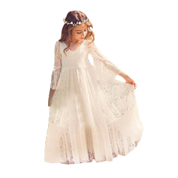 2019 New Beach Flower Girl Dresses White Ivory Boho First Communion Dress For Little Girl V-Neck Long Sleeve A-Line Cheap Kids Wedding Dress