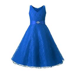 Navy Blue Cheap Flower Girl Dresses Beaded Lace Appliqued Princess A Line Sleeveless Kids Toddler First Communion Dress