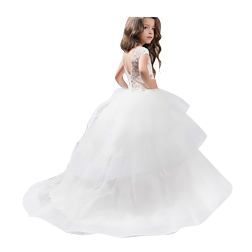 Cheap Ball Gown Flower Girls Dresses For Weddings Lace Illusion White Jewel Neck Short Sleeve Party Birthday Dress Children Girl Pageant 177
