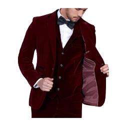 2019 Burgundy Velvet Men Suits Slim Fit 3 Piece Blazer Tailor Made Wine Red Groom Prom Party Tuxedo (Jacket Pants Vest Tie)