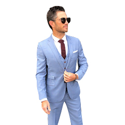 2019 New Fashion Light Blue Groom Tuxedos Peak Lapel Groomsmen Suits Man Jacket Blazer 3 Piece Suit(Jacket+Pants+Vest)