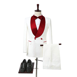 Ivory Double Breasted Wedding Tuxedos for Groom Red Shawl Lapel Two Piece Custom Made Formal Men Suits (Jacket + Pants)
