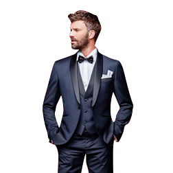 Navy Blue Wedding Tuxedos Slim Fit Suits For Men Groomsmen Suit Three Pieces Cheap Prom Formal Suits (Jacket +Pants+Vest+Bow Tie)