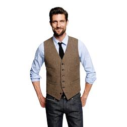 2018 Farm Wedding Vintage Brown Tweed vests custom made Groom vest mens slim fit tailor made wedding vests for men