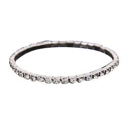 Cheap Rows 1 Tennis Bracelet Elegant Stretch Bridal Bangle Silver Rhinestones Princess Wedding Party Evening Jewelry Tennis Bracelet