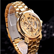 GOLD Skeleton Stainless Stee Wrist Watch