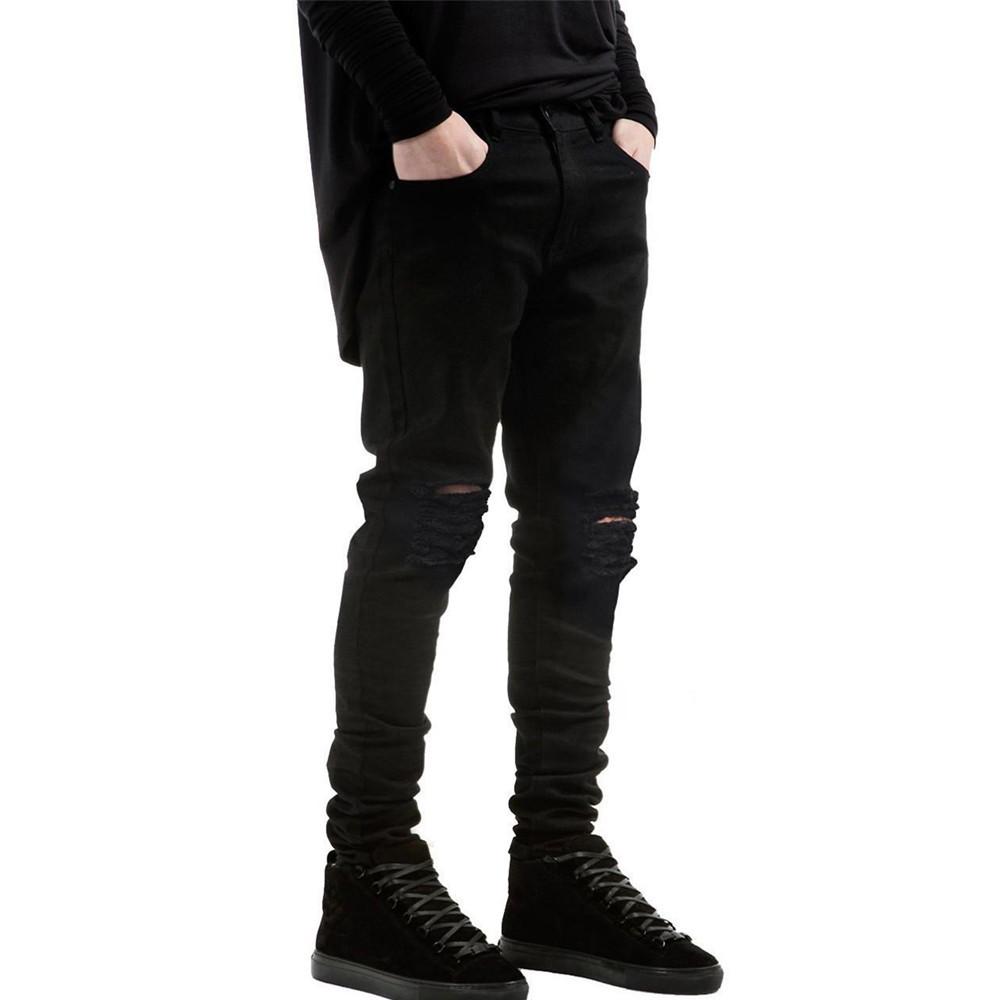 Mens Straight Slim Fit Biker Jeans