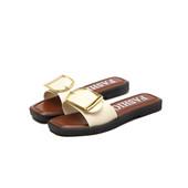 Chaussons en cuir à la mode Boucle carrée Plastique Eté Sandles Chaussures de plage Européennes et américaines antidérapantes Femmes Sandles