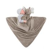Couvertures pour bébés 76x76cm Cadeau en peluche pour nouveau-nés Baby doux et chaleureux Chandail de corail Tête de jouet d'animal Bleu Ours Literie et Swaddle