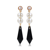 RAVIMOUR Boucles d'oreilles en cristal Spike pour les femmes Nouveaux bijoux en perles imitées en mode 2017 Gold Color Punk Earing Brincos coréens
