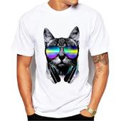 Maglietta bianca della maglietta degli uomini di modo di marca dell'uomo Maglietta divertente della stampa del gatto di DJ Maglietta divertente di estate per gli uomini Magliette casuali casuali di marca