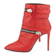 Red femme court Boot Zipper