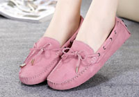 New Women Flats Women Nubuck Leather Shoes