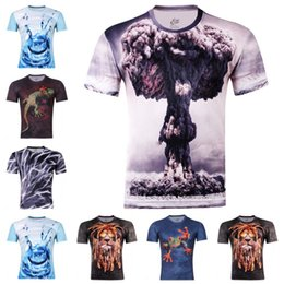 Cheap Mens T Shirt Canada - L0101 2015 New Fashion Skull T Shrts Mens 3 D T Shirt Funny Printing  Face Water Fire  T Shirt Cheap Shirt Size S ~ xxxxl