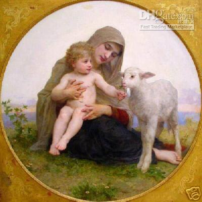 pittura ad olio: Virgin Marychildren e pecora 24 * 24INCHES