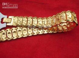Wholesale 14kt Gold Bracelets - Wholesale Men's Luxury Jewelry Brand Design Logo Fashion 14KT Yellow Gold GP Bracelet Chain Link