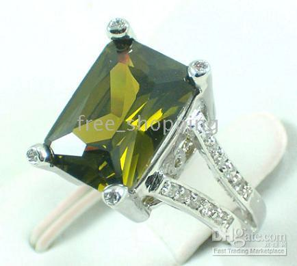 Wholesale Gold Gp Gem Ring - New Generous Elegant Women's Jewelry Clear Peridot Oblong gemstone 10KT White GP Gem Ring Size 8 P
