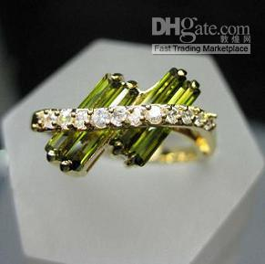 charmes de 14kt achat en gros de-Pretty Lady Girl Charming Belle Emeraude Blanc pierre fine Beaux 14KT Or jaune GP Ring