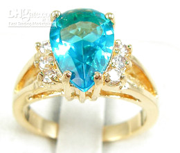 Wholesale 14kt Gold Sapphire Rings - New Elegant Lady's White Sky Blue Color Sapphire Heart gemstone 14KT GP Yellow Gemstone Class Ring