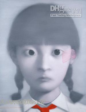 Chinesische Portraits Ölgemälde von Xiaogang Zhang: Mädchen