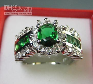 Wholesale Gold Plated Emerald Rings - Wholesale Women Luxury Jewelry Gorgeous Emerald White Gemstone Jade 10KT White Gold GP Wedding Ring