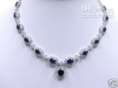 Wholesale Gold Necklaces 18kt - Wholesale cheap precious Sapphire Diamond 18KT White Gold Necklace