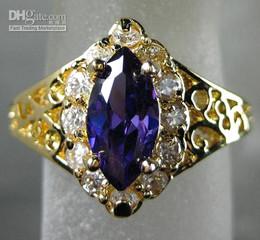 Wholesale Gold Ring Alexandrite - Noblest Lady's White Purple Color Alexandrite gemstone 10KT Yellow GP Wedding Band Gemstone Ring