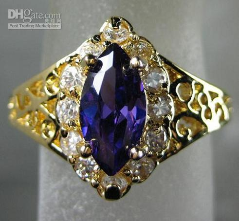 Wholesale Alexandrite Stones - Noblest Lady's White Purple Color Alexandrite gemstone 10KT Yellow GP Wedding Band Gemstone Ring
