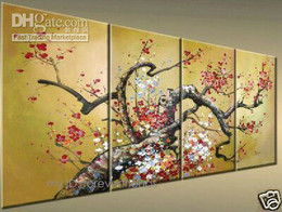Wholesale Oil Painting 5pcs - Framed 5pcs FLORAL flower,Pure Hand painted Landscape Modern Art oil painting On High Quality Canvas For Wall Deco Multi Sizes Free Shipping