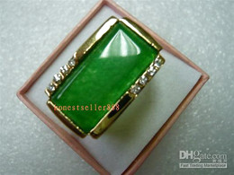 Genuine Green Emerald ring 14KT Men Men's Rings