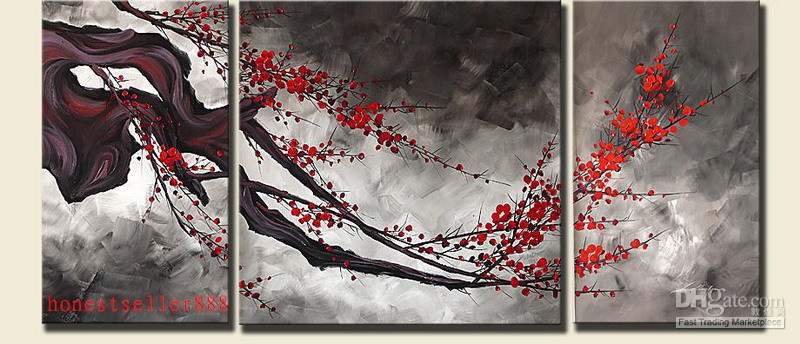 100% Artesanato OIL Painting, ORIGINAL ASIAN BLOSSOM ABSTRACT ZEN ART PAINT (Plum Blossom) # 0156