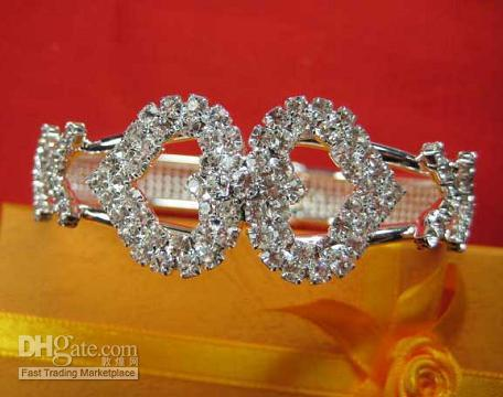 Wholesale 14kt Gold Bracelets - Vogue In 2008 Summer Girl Lady's Jewelry 14KT White Gold filled Heart Shape Bangle Gem Bracelet