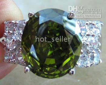 Wholesale Diamond Ring Gp - Women's Jewelry Nature Peridot White Diamond Gemstone Ring 14KT White Gold GP Wedding Ring engagement ring