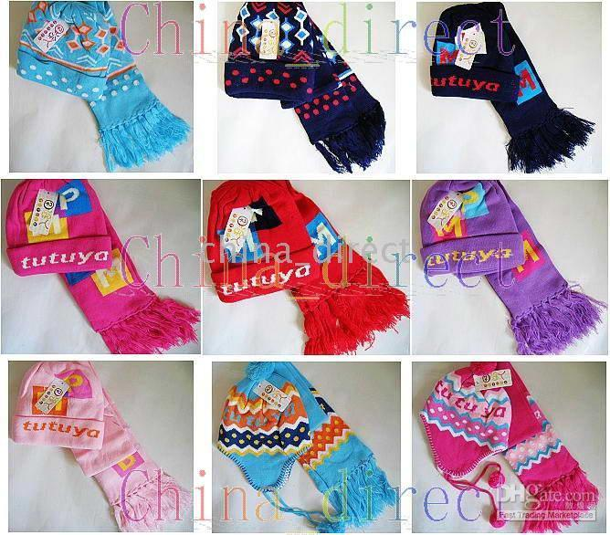 Set Boys girls baby Beanie Scarf Cap Crochet Bonnet Hats scarves 28sets/lot new