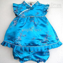 Wholesale Qipao Silk - girls' sets girls' suits baby dresses girls' dresses QIPAO skirt 4 colors baby shorts baby tops