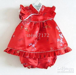 Wholesale Silk Brocade Set - baby QIPAO baby dresses kids skirts tapestry satin baby sets silk brocade high quality baby outfits
