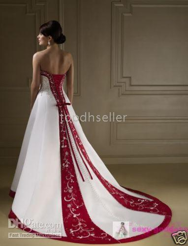 Discount Wholesale Top Quality! Stock White/Burgundy Bride Wedding ...