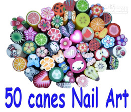 Wholesale Wholesale Cane Tip - 50 Canes 5000pc Fruit Slice Nail Art Decoration UV Tips