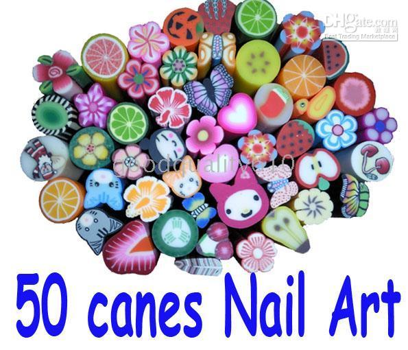 cannes à ongles achat en gros de-50 Canes 5000pc Fruit Slice Nail Art Décoration UV Tips