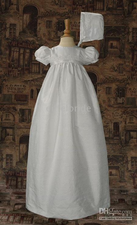 Wholesale Short Sleeved Long Gowns - Short Sleeved Silk Christening Gowns Off White Embroidery Long Baby Skirt First Communion Dresses