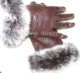Wholesale Goat Fur Leather - Women's Rabbit fur fringed Real Goat eather gloves skin gloves LEATHER GLOVES 12pairs lot #1474