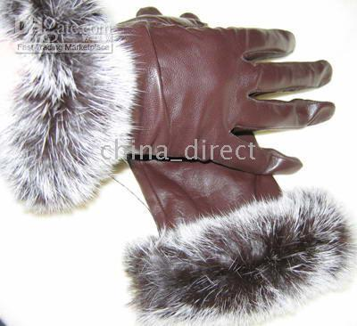 Wholesale Real Rabbit Fur Skins - Women's Rabbit fur fringed Real Goat eather gloves skin gloves LEATHER GLOVES 12pairs lot #1474