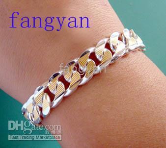 Wholesale Men S Beaded Bracelets - Free shipping mix 10Pcs 925 silver men`s bracelet long 8 inch.